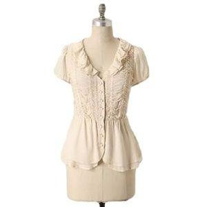 Anthropologie ODILLE kinship top ruffle blouse 0